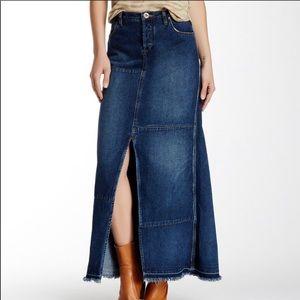 Free people   Denim Boho Patchwork Maxi Skirt   30